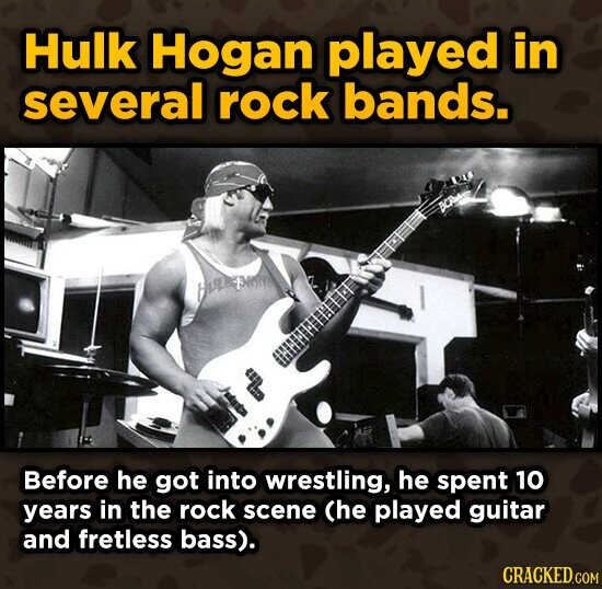 Hulk Hogan played in several rock bands. GFIHITITIE Before he got into wrestling, he spent 10 years in the rock scene Che played guitar and fretless bass).