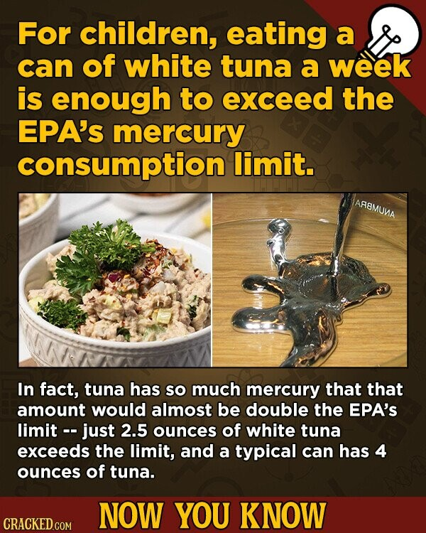 For children, eating a can of white tuna a week is enough to exceed the EPA's mercury consumption limit. AR8MUMA In fact, tuna has so much mercury that that amount would almost be double the EPA's limit -- just 2.5 ounces of white tuna exceeds the limit, and a typical can