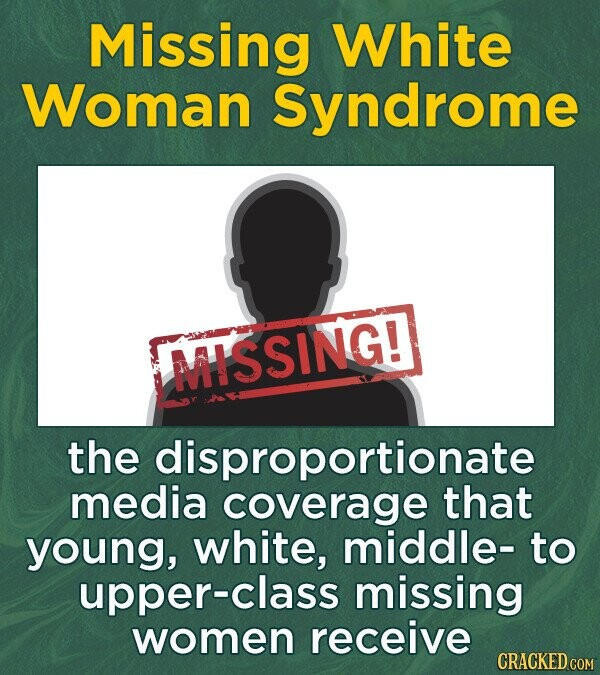 Missing White Woman Syndrome MISSING! the disproportionate media coverage that young, white, middle- to upper-class missing women receive