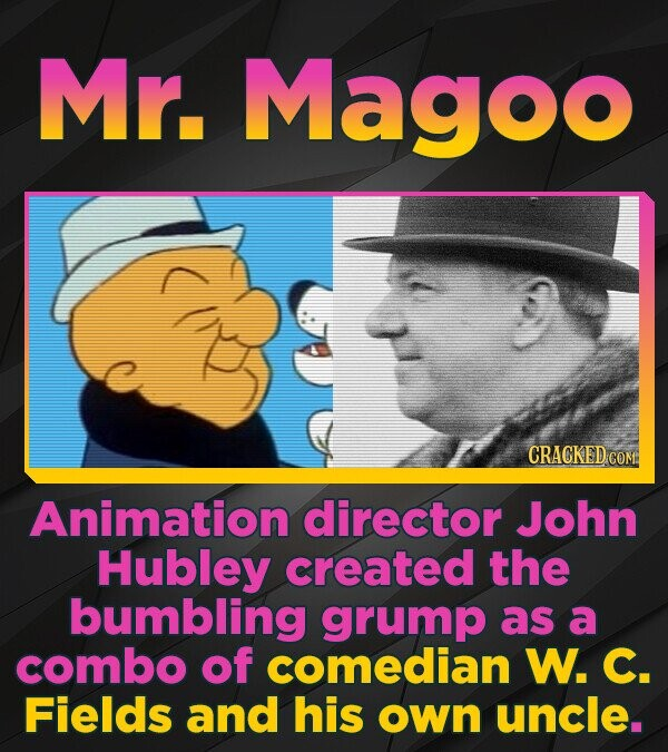 Mr. Magoo CRACKED COM Animation director John Hubley created the bumbling grump as a combo of comedian W. C. Fields and his own uncle.