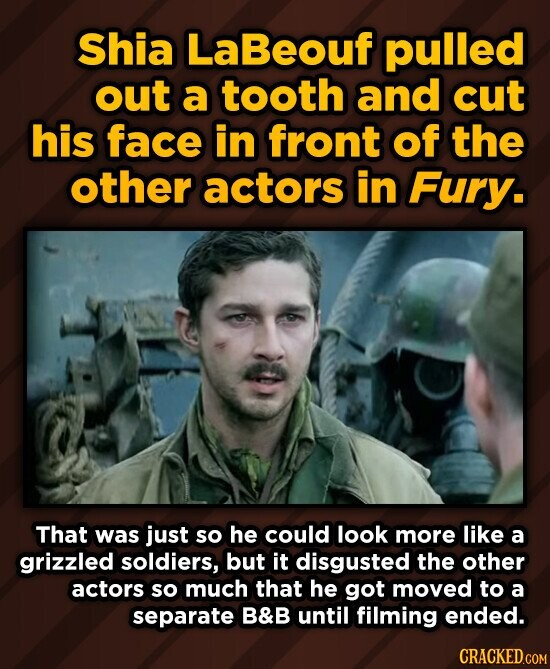 Shia LaBeouf pulled out a tooth and cut his face in front of the other actors in Fury. That was just so he could look more like a grizzled soldiers, but it disgusted the other actors so much that he got moved to a separate B&B until filming ended. CRACKED.COM