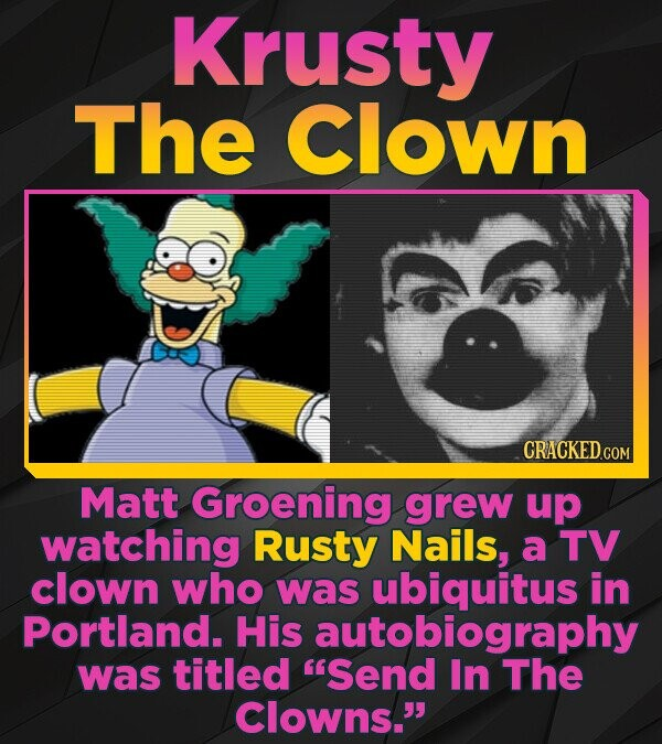 Krusty The Clown CRACKEDCON Matt Groening grew up watching Rusty Nails, a TV clown who was ubiquitus in Portland. His autobiography was titled 'Send