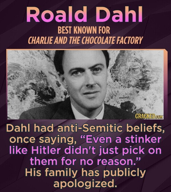 Roald Dahl BEST KNOWN FOR CHARLIE AND THE CHOCOLATE FACTORY CRACKED COM Dahl had anti-Semitic beliefs, once saying, Even a stinker like Hitler didn't just pick on them for no reason. His family has publicly apologized.