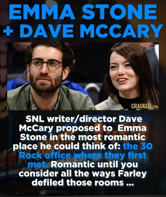 EMMA STONE + DAVE MCCARY CRACKED COM SNL writer/ director Dave Mccary proposed to Emma Stone in the most romantic place he could think of: the 30 Rock