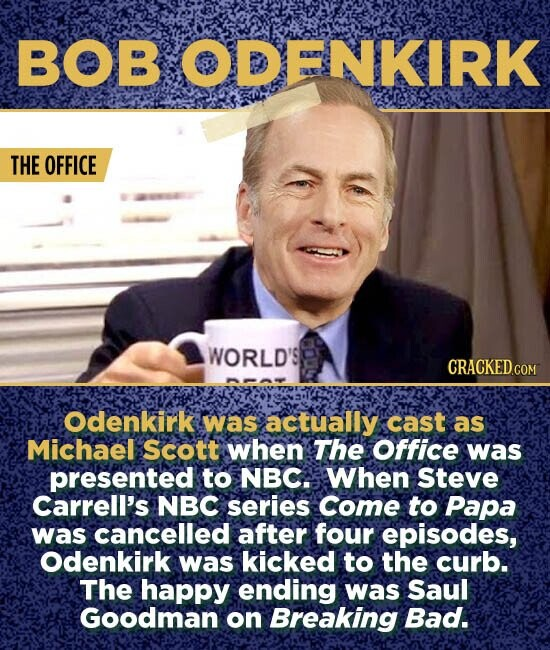 BOB ODENKIRK THE OFFICE WORLD'S Odenkirk was actually cast as Michael scott when The Office was presented to NBC. When Steve Carrell's NBC series Come to Papa was cancelled after four episodes, Odenkirk was kicked to the curb. The happy ending was Saul Goodman on Breaking Bad.