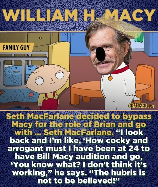 WILLIAM H MACY FAMILY GUY CRACKED CON Seth MacFarlane decided to bypass Macy for the role of Brian and go with ... Seth MacFarlane. I look back and I'm like, 'How cocky and arrogant must I have been at 24 to have Bill Macy audition and go, 'You know what? I don't