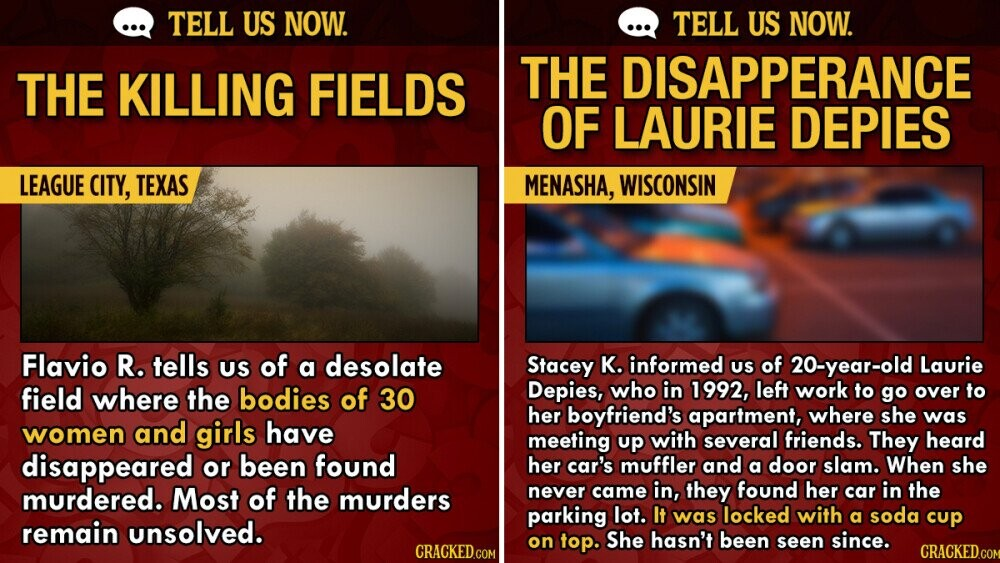 Tell Us Now: 14 Haunting Unsolved Mysteries