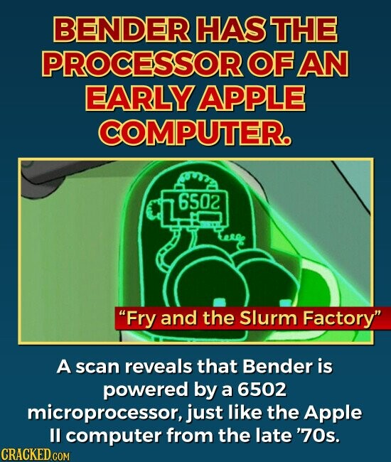 BENDER HAS THE PROCESSOR OF AN EARLY APPLE COMPUTER. Fry and the Slurm Factory A scan reveals that Bender is powered by a 6502 microprocessor, just like the Apple ll computer from the late '70s.