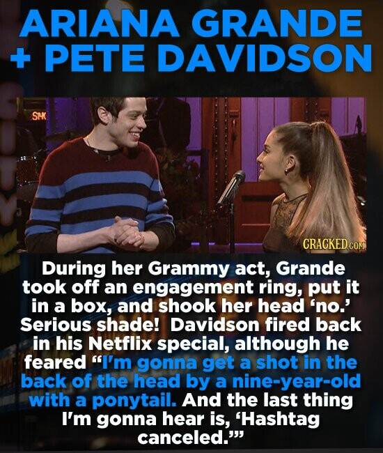 ARIANA GRANDE +- PETE DAVIDSON SMK During her Grammy act, Grande took off an engagement ring, put it in a box, and shook her head 'no.' Serious shade!