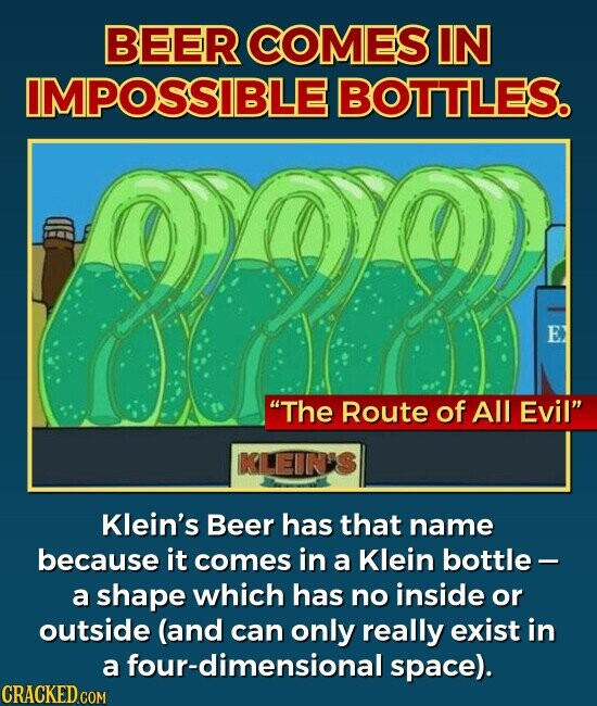 BEER COMES IN IMPOSSIBLE BOTTLES. E The Route of All Evil Klein's Beer has that name because it comes in a Klein bottle- a shape which has no inside or outside (and can only really exist in a four-dimensional space).
