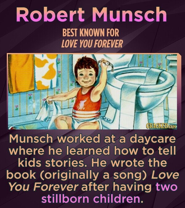 Robert Munsch BEST KNOWN FOR LOVE YOU FOREVER CRACKED COM Munsch worked at a daycare where he learned how to tell kids stories. He wrote the book (originally a song) Love You Forever after having two stillborn children.