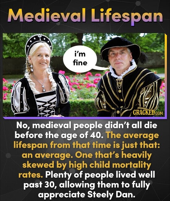 Medieval Lifespan i'm fine CRACKED COM No, medieval people didn't all die before the age of 40. The average lifespan from that time is just that: an a