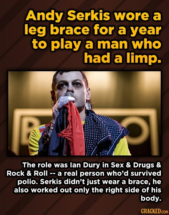 Andy Serkis wore a leg brace for a year to play a man who had a limp. The role was lan Dury in Sex & Drugs & Rock & Roll -- a real person who'd survived polio. Serkis didn't just wear a brace, he also worked out only the right side