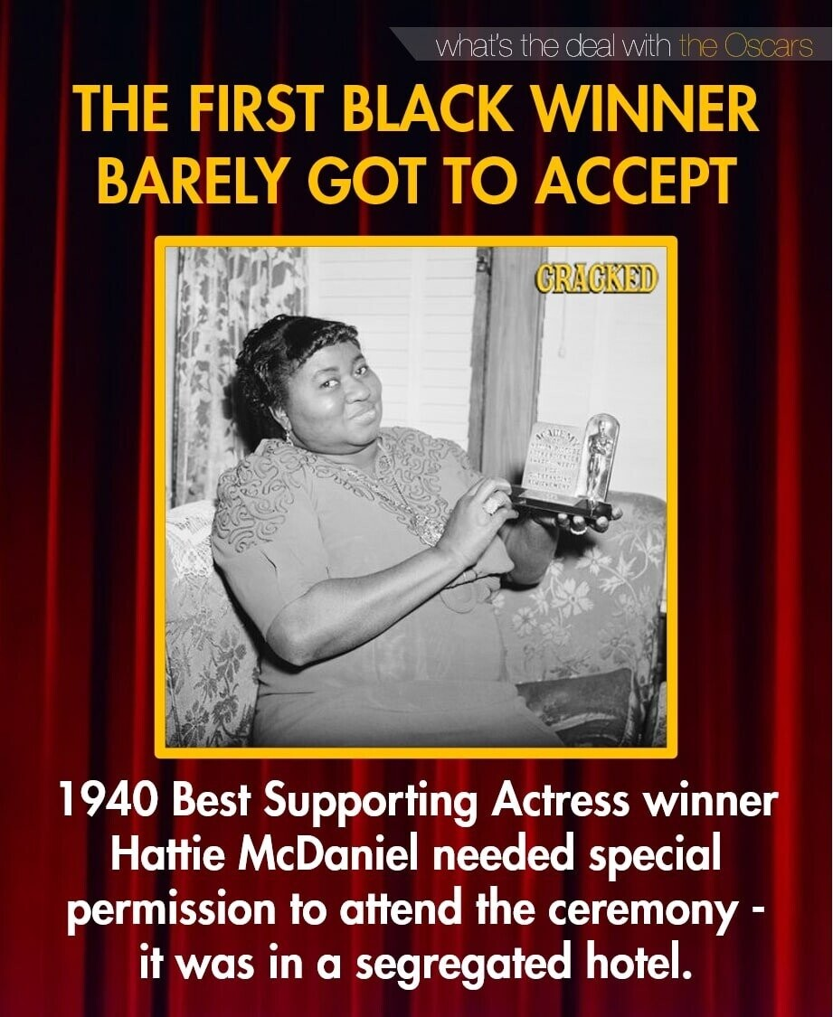 what's the deal with the Oscars THE FIRST BLACK WINNER BARELY GOT TO ACCEPT GRAGKED 1940 Best Supporting Actress winner Hattie McDaniel needed special permission to attend the ceremony - it in hotel. was a segregated