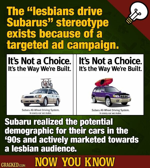 The lesbians drive Subarus' stereotype exists because of a targeted ad campaign. It's Not a Choice. It's Not a Choice. It's the Way We're Built. It'