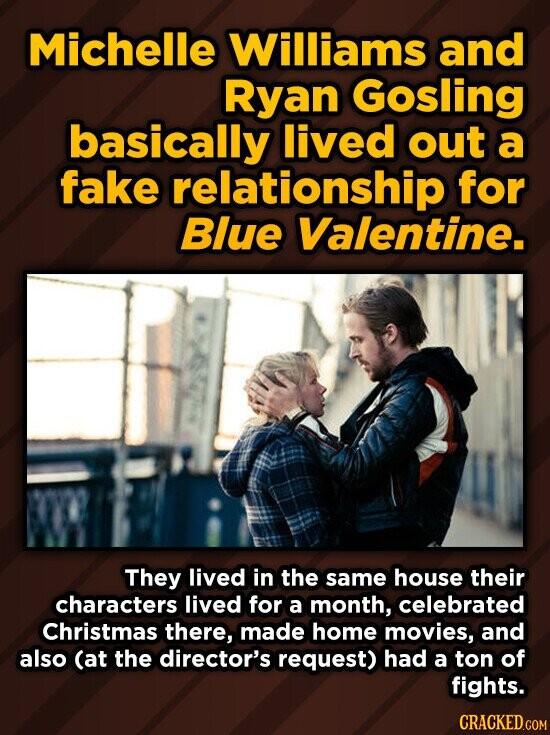 Michelle Williams and Ryan Gosling basically lived out a fake relationship for Blue Valentine. They lived in the same house their characters lived for a month, celebrated Christmas there, made home movies, and also (at the director's request) had a ton of fights. CRACKED.COM
