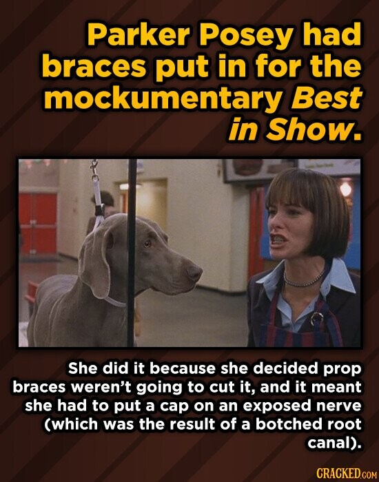 Parker Posey had braces put in for the mockumentary Best in Show. She did it because she decided prop braces weren't going to cut it, and it meant she had to put a cap on an exposed nerve (which was the result of a botched root canal).