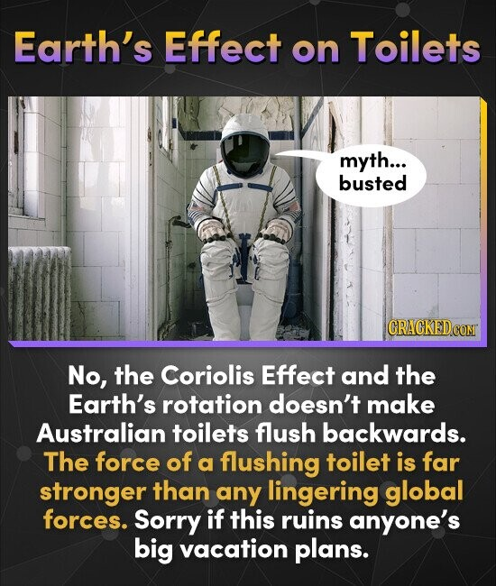 Earth's Effect on Toilets myth... busted CRACKED COMI No, the Coriolis Effect and the Earth's rotation doesn't make Australian toilets flush backwards