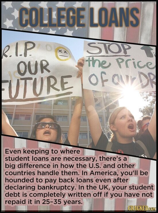 COLLEGE LOANS 21P STOP OUR the price of QUY DR UTURE Even keeping to where student loans are necessary, there's a big difference in how the U.S. and o