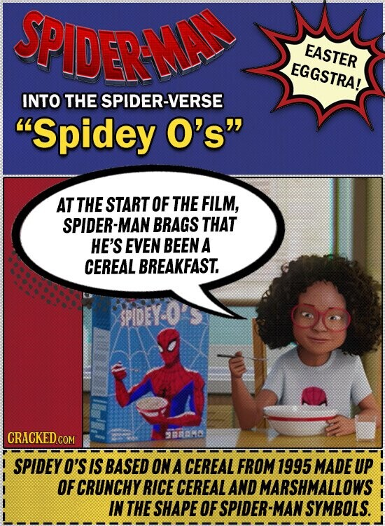EASTER EGGSTRA! INTO THE SPIDER-VERSE Spidey O's AT THE START OF THE FILM, SPIDER-MAN BRAGS THAT HE'S EVEN BEEN A CEREAL .BREAKFAST. SPIDEY-0 CRACKED 300000 COM SPIDEYO'S IS BASED ON A CEREAL FROM 1995 MADE UP OF CRUNCHY RICE CEREAL AND MARSHMALLOWS IN THE SHAPE OF SPIDER- MAN SYMBOLS.