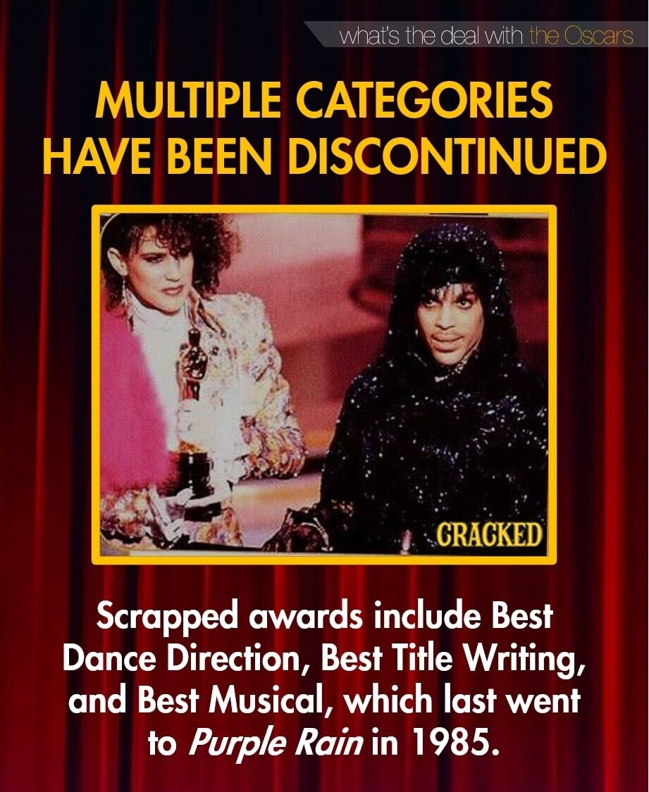 what's the deal with the Oscars MULTIPLE CATEGORIES HAVE BEEN DISCONTINUED CRACKED Scrapped awards include Best Dance Direction, Best Title Writing, and Best Musical, which last went to Purple Rain in 1985.