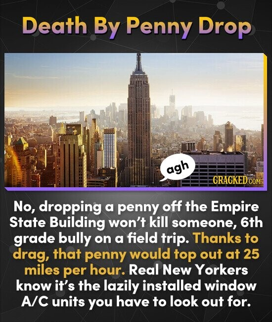 Death By Penny Drop agh CRACKED COM: No, dropping a penny off the Empire State Building won't kill someone, 6th grade bully on a field trip. Thanks to