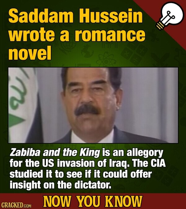 Saddam Hussein wrote a romance novel Zabiba and the King is an allegory for the US invasion of Iraq. The CIA studied it to see if it could offer insight on the dictator. NOW YOU KNOW CRACKED COM