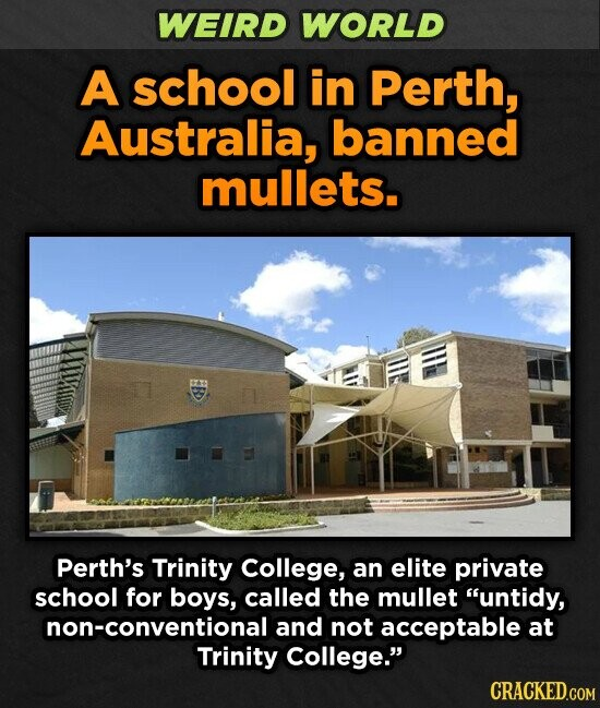 WEIRD WORLD A school in Perth, Australia, banned mullets. Perth's Trinity College, an elite private school for boys, called the mullet untidy, non-conventional and not acceptable at Trinity College.' CRACKED.COM