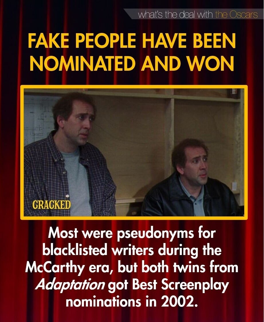 what's the deal with the Oscars FAKE PEOPLE HAVE BEEN NOMINATED AND WON CRACKED Most for were pseudonyms blacklisted writers during the McCarthy but both twins from era, Adaptation got Best Screenplay nominations in 2002.