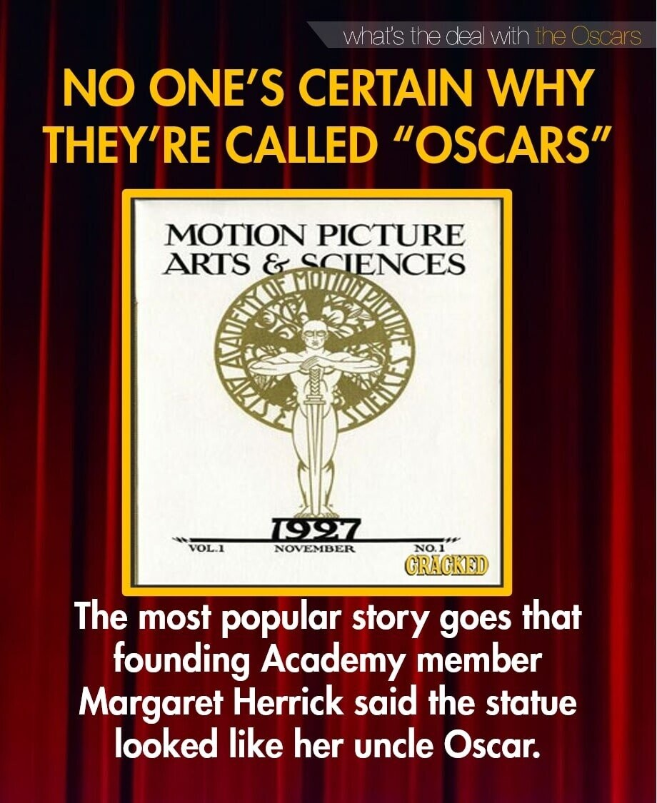 what's the deal with the Oscars NO ONE'S CERTAIN WHY THEY'RE CALLED OSCARS MOTION PICTURE ARTS & SCIENCES 1997 VOL-1 NOVEMBER NO. GRAGKED The most popular story goes that founding Academy member Margaret Herrick said the statue looked like her uncle Oscar.