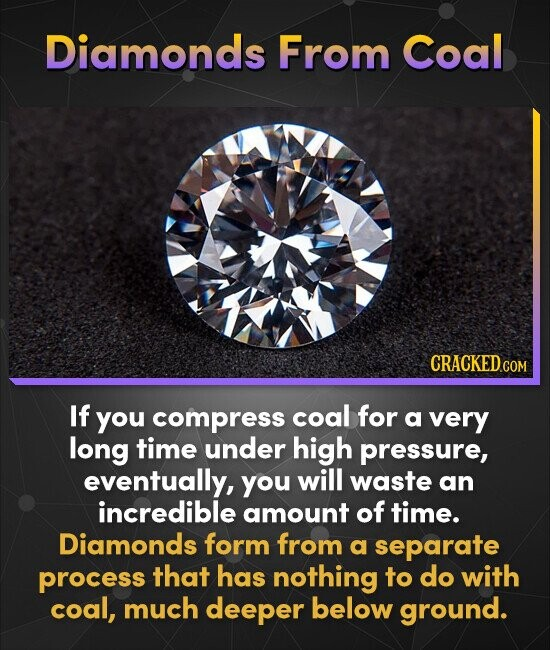 Diamonds From Coal CRACKED COM If you compress coal for a very long time under high pressure, eventually, you will waste an incredible amount of time.