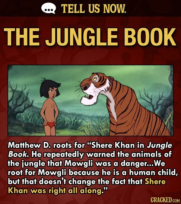 TELL US NOW. THE JUNGLE BOOK Matthew D. roots for Shere Khan in Jungle Book. He repeatedly warned the animals of the ijungle that Mowgli was a danger... We root for Mowgli because he is a human child, but that doesn't change the fact that Shere Khan was right all