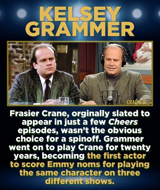 KELSEY GRAMMER CRACKED COM Frasier Crane, orginally slated to appear in just a few Cheers episodes, wasn't the obvious choice for a spinoff. Grammer went on to play Crane for twenty years, becoming the first actor to score Emmy noms for playing the same character on three different shows.