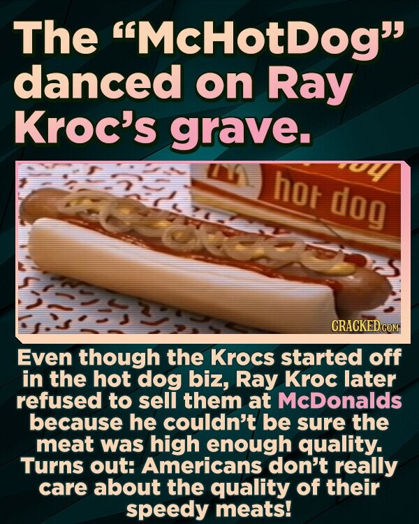 The McHotdog danced on Ray Kroc's grave. hot dog Even though the Krocs started off in the hot dog biz, Ray Kroc later refused to sell them at McDonalds because he couldn't be sure the meat was high enough quality. Turns out: Americans don't really care about the quality