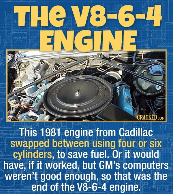 THE V8-6-4 ENGINE endensator OIo: CRACKEDCO This 1981 engine from Cadillac swapped between using four or six cylinders, to save fuel. Or it would have