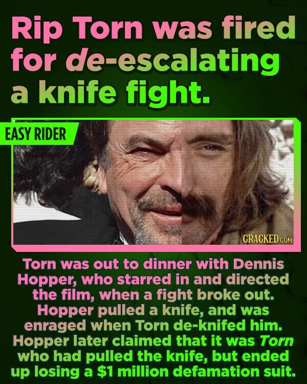 Rip Torn was fired for de-escalating a knife fight. EASY RIDER CRACKED COM Torn was out to dinner with Dennis Hopper, who starred in and directed the film, when a fight broke out. Hopper pulled a knife, and was enraged when Torn de-knifed him. Hopper later claimed that it was Torn