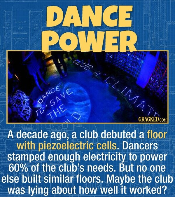 DANCE rbie POWER hendensatot DANCE SAVE To THE CRACKEDCO A decade ago, a club debuted a floor with piezoelectric cells. Dancers stamped enough electri