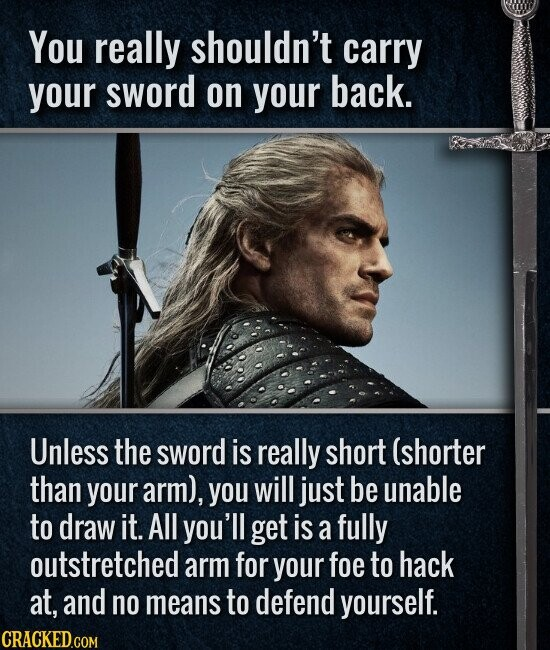 You really shouldn't carry your sword on your back. Unless the sword is really short (shorter than your arm), you will just be unable to draw it. All you'll get is a fully outstretched arm for your foe to hack at, and no means to defend yourself.