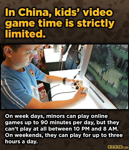 In China, kids' video game time is strictly limited. On week days, minors can play online games up to 90 minutes per day, but they can't play at all between 10 PM and 8 AM. On weekends, they can play for up to three hours a day. CRACKED.COM