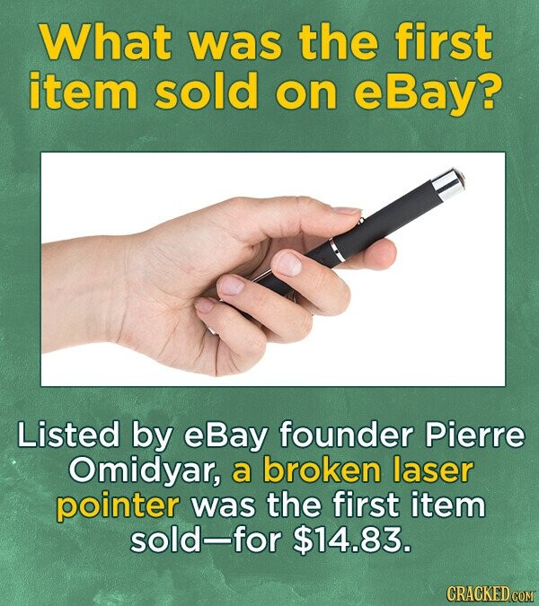 What was the first item sold on eBay? Listed by eBay founder Pierre Omidyar, a broken laser pointer was the first item sold-for $14.83.