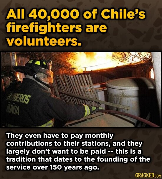 All 40,000 of Chile's firefighters are volunteers. B VBEROS NONOA They even have to pay monthly contributions to their stations, and they largely don't want to be paid- this is a tradition that dates to the founding of the service over 150 years ago.