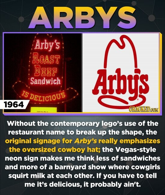 ARBYS Arby's ROAST BeeF Arby's Sandwich IS DELICIOUS 1964 CRACKEDO Without the contemporary logo's use of the restaurant name to break up the shape, the original signage for Arby's really emphasizes the oversized cowboy hat; the Vegas-style neon sign makes me think less of sandwiches and more of a barnyard