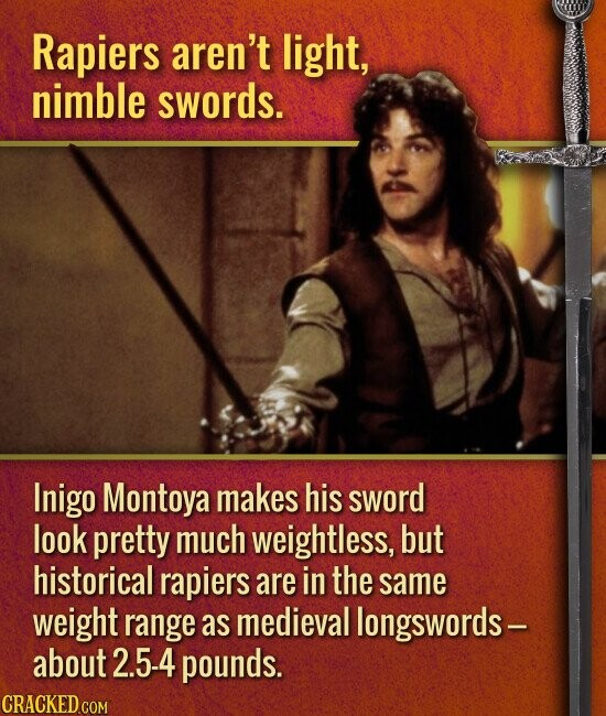 Rapiers aren't light, nimble swords. Inigo Montoya makes his sword look pretty much weightless, but historical rapiers are in the same weight range as medieval longswords- about 2.5-4 pounds.