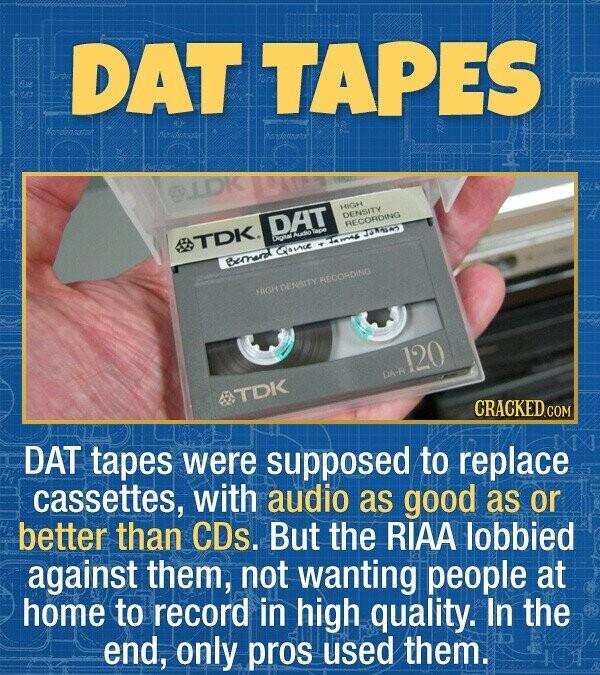 DAT TAPES Hendensatot OLDK HIGH DAT DENSITY RECORDING TNALYM O TOK aue Bemnrd RECORDING OENSITY HIGH 120 DA-R 68 TDK CRACKEDCON DAT tapes were suppose