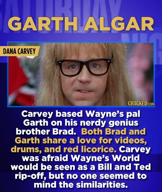 GARTH ALGAR DANA CARVEY Carvey based Wayne's pal Garth on his nerdy genius brother Brad. Both Brad and Garth share a love for videos, drums, and red l
