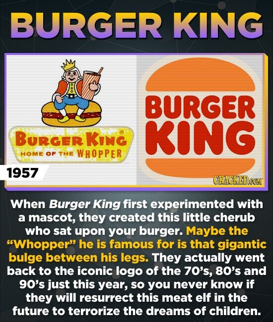 BURGER KING BURGER BURGER KING KInG HOME OF THE WHOPPER 1957 CRACKEDO CONT When Burger King first experimented with a mascot, they created this little cherub who sat upon your burger. Maybe the Whopper he is famous for is that gigantic bulge between his legs. They actually went back to