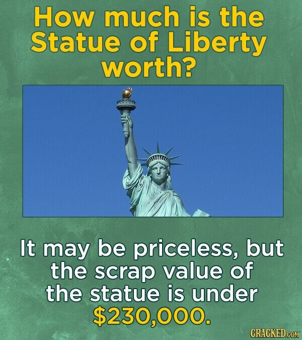 How much is the Statue of Liberty worth? IITTIT It may be priceless, but the scrap value of the statue is under $230,0