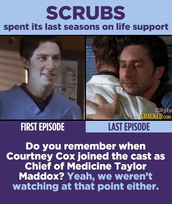 SCRUBS spent its last seasons on life support Cityty CRACKED.COM FIRST EPISODE LAST EPISODE Do you remember when Courtney Cox joined the cast as Chief of Medicine Taylor Maddox? Yeah, we weren't watching at that point either.