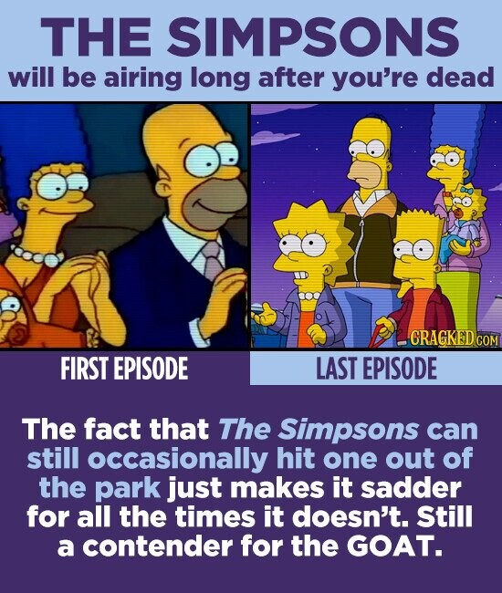 THE SIMPSONS will be airing long after you're dead -CRAGKED COM FIRST EPISODE LAST EPISODE The fact that The Simpsons can still occasionally hit one out of the park just makes it sadder for all the times it doesn't. Still a contender for the GOAT.