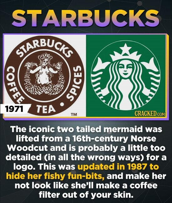 STARBUCKS STARBUCKS os spi 1971 TEA TM CRACKED CO COM The iconic two tailed mermaid was lifted from a 16th-century Norse Woodcut and is probably a little too detailed (in all the wrong ways) for a logo. This was updated in 1987 to hide her fishy fun-bits, and make her not